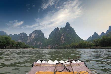 bamboo raft in Li River,Guilin,China  photo
