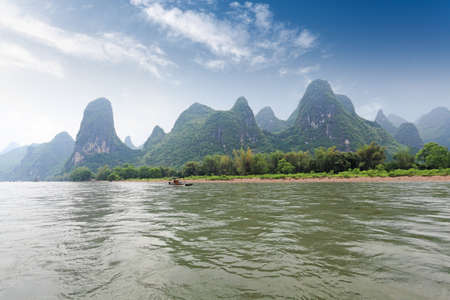 beautiful karst hills landscape in Li River,Guilin,China photo