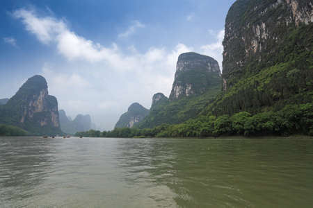 beautiful scenery of lijiang river, karst mountain landscape in guilin,China photo