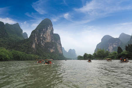 bamboo raft in beautiful  lijiang river,guilin,China  photo