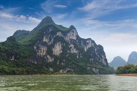 nine horses painting mountain in lijiang river ,guilin, China photo