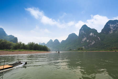 beautiful lijiang river scenery under the blue sky in guilin,China photo
