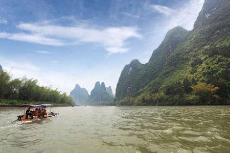 bamboo raft in beautiful lijiang river,guilin karst mountain landscape,China photo