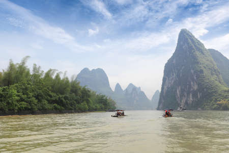 guilin karst mountain landscape and beautiful lijiang river,China   photo