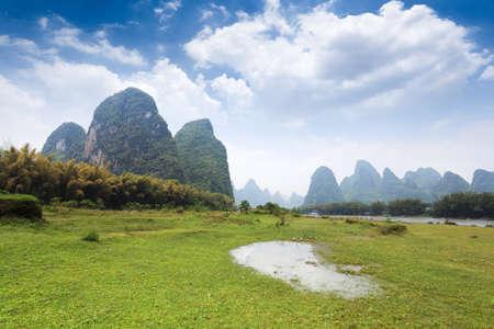 beautiful scenery of guilin,karst mountain landscape background of twenty yuan photo