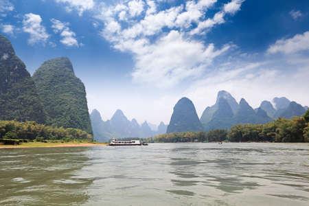 beautiful scenery of karst mountain in lijiang river,guilin,China photo