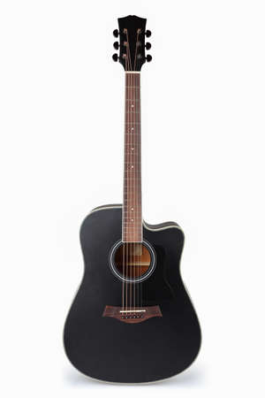 play popular: black acoustic guitar with white background Stock Photo