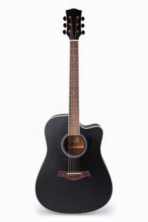 gitara: czarny gitara akustyczna z białym tłem Zdjęcie Seryjne