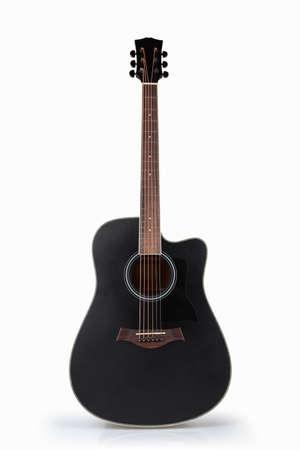 guitarra acustica: guitarra acústica negro aislado en el blanco