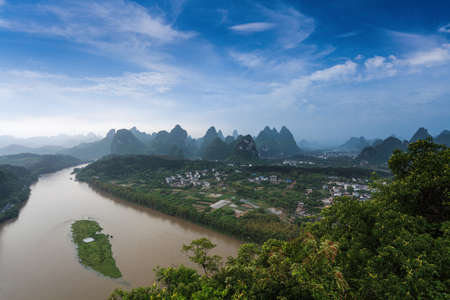 karst: beautiful karst landform and the lijiang river after the rain in yangshuo,China