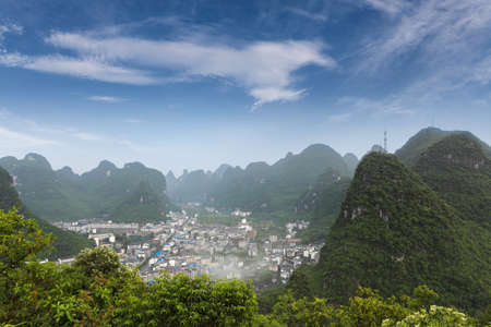 beautiful karst mountain landscape around the yangshuo county,guilin,China photo
