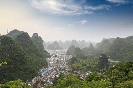 landform: yangshuo county with karst landform scenery at dusk