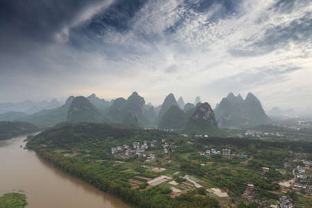 karst landform under the blue sky in yangshuo,China photo