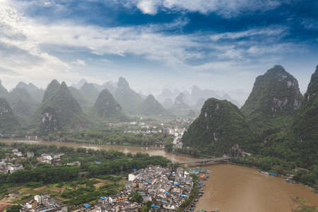 beautiful scenery of yangshuo,karst mountain landscape,China photo