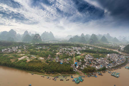 aerial view of karst mountain landscape in yangshuo peak,China photo