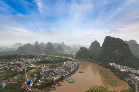 aerial view of karst landform in yangshuo,China photo