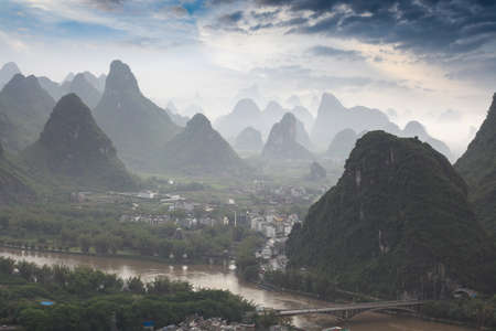 beautiful scenery of chinese yangshuo after the rain  photo