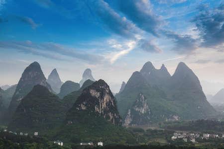 guilin: karst mountain against a blue sky