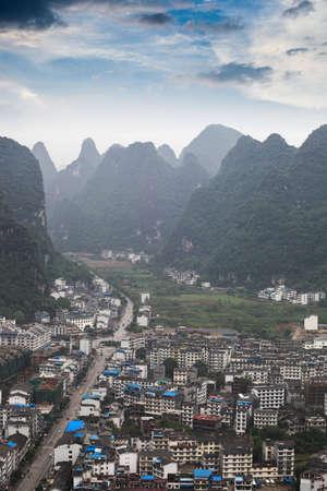 landform: yangshuo county with karst landform,China
