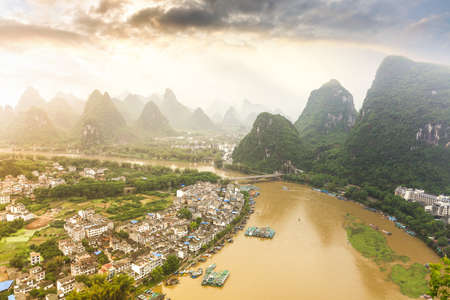 karst: beautiful scenery of chinese yangshuo,karst mountain and lijiang river landscape  Stock Photo