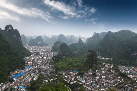 guilin: karst mountains around the yangshuo county,aerial view from green lotus peak  Stock Photo