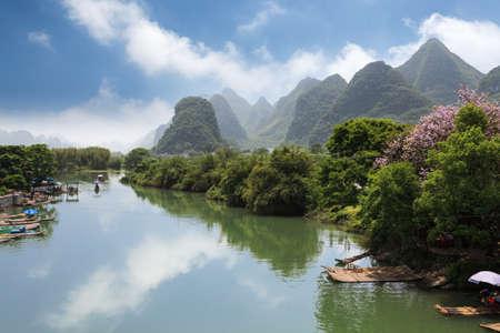guilin: rural scenery in yangshuo yulong river Stock Photo
