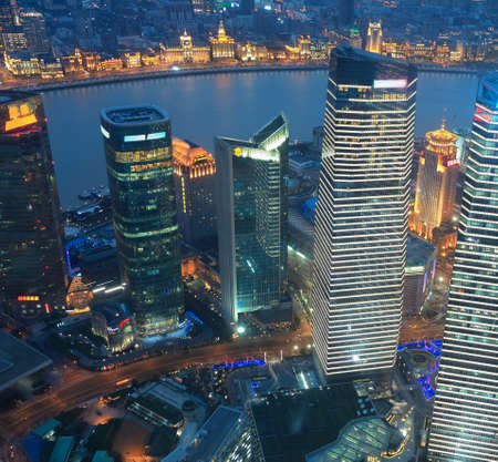 aerial view of shanghai lujiazui business center at night photo
