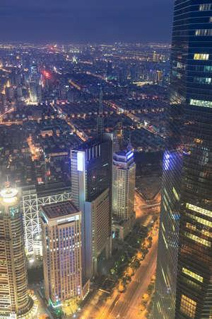 overlooking metropolis of shanghai at night photo
