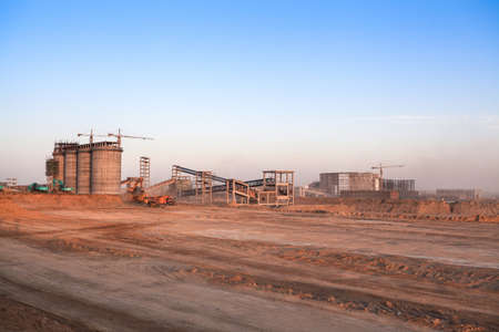 construction site at dusk in inner mongolia,is the construction of coal plants photo