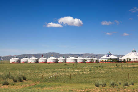 ger: yurts on grassland in inner mongolia,China