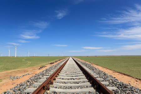 vast: railway on the steppe in inner mongolia,China Stock Photo