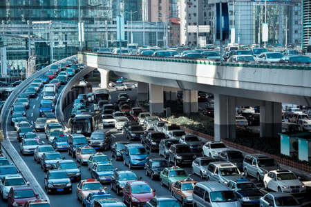 overpass: automobile congestion in the morning rush hour Stock Photo
