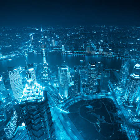 overlook: aerial view of shanghai at night with blue tone Stock Photo