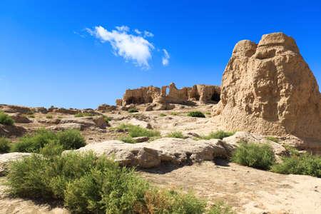 xinjiang: les ruines Jiaohe de Turpan, Xinjiang, en Chine, c'est le monde Banque d'images