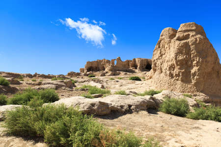 brick earth: the jiaohe ruins in turpan, xinjiang province,China,is the world Stock Photo