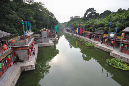 summer palace: suzhou water street in beijing summer palace,China Stock Photo