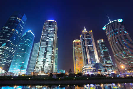 shanghai china: night scenes of shanghai financial center district Stock Photo