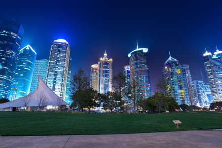city park with modern building background in shanghai at night Stock Photo - 15032606