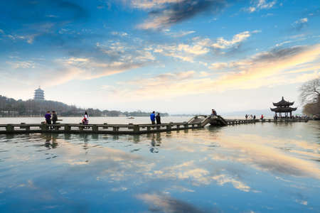 the west lake at afterglow in hangzhou,China photo