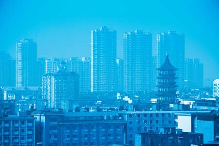 housing styles: ancient pagoda in the city,nanchang,China