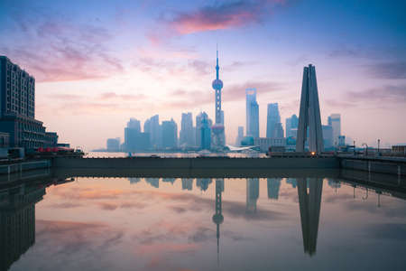 china rose: beautiful shanghai, rosy dawn reflection in the river