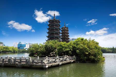 guilin: twin pagoda in guilin banyan lake,China