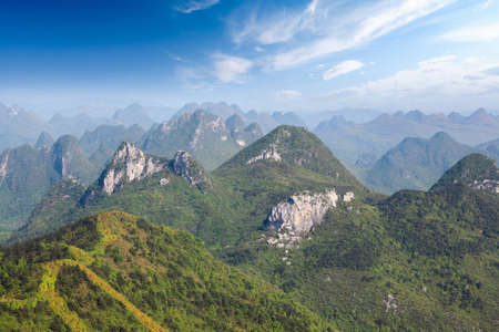 karst: rolling hills,beautiful karst mountain landscape in guilin,China