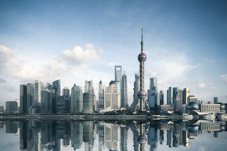 shanghai skyline with reflection,China Stock Photo