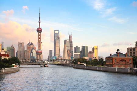 shanghai skyline: beautiful views of shanghai from suzhou river at dusk