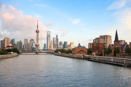 historical reflections: shanghai at dusk,view from suzhou river
