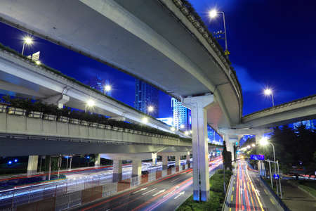 night traffic under the viaduct in shanghai Stock Photo