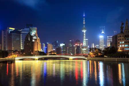 night shanghai, beautiful suzhou river and lujiazui financial center photo