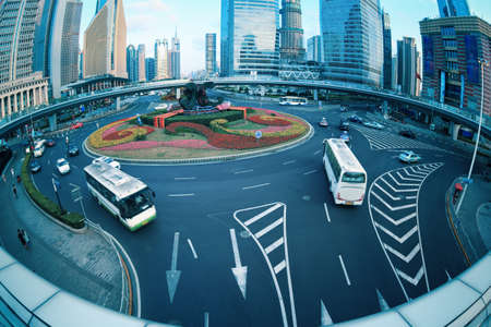 shanghai lujiazui downtown with fish-eye view on the footbridge Stock Photo - 15826017