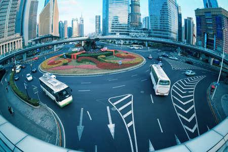 shanghai lujiazui downtown with fish-eye view on the footbridge Stock Photo - 15826017